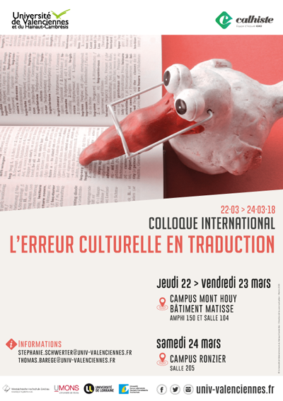 Du 22 au 24 mars, se déroulera le colloque international « L'erreur culturelle en traduction ».