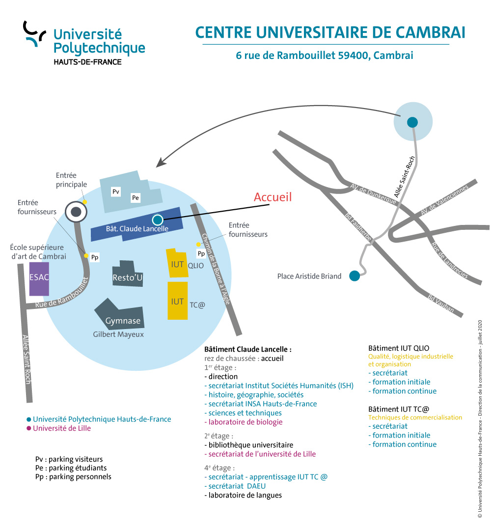 Plan du Centre Universitaire de Cambrai